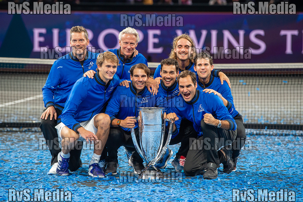 GENEVA, SWITZERLAND - SEPTEMBER 22: Roger Federer celebrates the win with his Team Europe during Day 3 of the Laver Cup 2019 at Palexpo on September 20, 2019 in Geneva, Switzerland. The Laver Cup will see six players from the rest of the World competing against their counterparts from Europe. Team World is captained by John McEnroe and Team Europe is captained by Bjorn Borg. The tournament runs from September 20-22. (Photo by Robert Hradil/RvS.Media)
