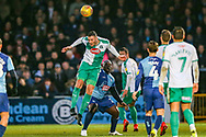 Plymouth Argyle defender Ryan Edwards (5) heads clear during the EFL Sky Bet League 1 match between Wycombe Wanderers and Plymouth Argyle at Adams Park, High Wycombe, England on 26 January 2019.