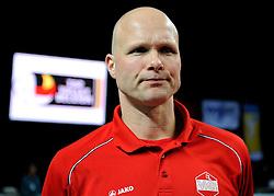 12-02-2012 VOLLEYBAL: BEKERFINALE EUPHONY ASSE LENNIK - NOLIKO MAASEIK: ANTWERPEN<br /> Noliko Maaseik wint vrij eenvoudig de beker van Belgie. In de finale waren zij met 25-21 25-18 en 25-19 te sterk voor Asse Lennik / Een balende Marko Klok<br /> ©2012-FotoHoogendoorn.nl