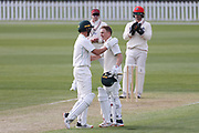 Bayley Wiggins of CD celebrates his 100 runs with Ben Wheeler. Canterbury vs. Central Districts Day 1, 1st round of the 2021-2022 Plunket Shield cricket competition at Hagley Oval, Christchurch, on Saturday 23rd October 2021.<br /> © Copyright Photo: Martin Hunter/ www.photosport.nz