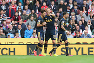 Son Heung-Min of Tottenham Hotspur (l) celebrates with Harry Kane after scoring his teams 1st goal. Premier league match, Stoke City v Tottenham Hotspur at the Bet365 Stadium in Stoke on Trent, Staffs on Saturday 10th September 2016.<br /> pic by Chris Stading, Andrew Orchard sports photography.