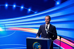 September 29, 2017 - Ljubljana, Slovenia, Slovenia - UEFA president Aleksander Ceferin talks during Final Draw UEFA Futsal EURO 2018 on Ljubljana Castle on September 29, 2017 in Ljubljana, Slovenia. (Credit Image: © Damjan Zibert/NurPhoto via ZUMA Press)
