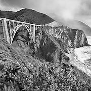Bixby Bridge - Big Sur, CA -  HDR -  Infrared Black & White