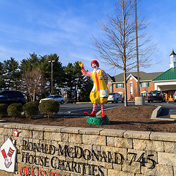 Hershey, PA / USA - December 10, 2015: The Ronald McDonald statue outside the Ronald McDonald's House.