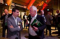 UTRECHT -  Andre Buurman met Ruben Tromp (l)  , A tribe called Golf, de kracht van de connectie. Nationaal Golf Congres van de NVG 2014 , Nederlandse Vereniging Golfbranche. COPYRIGHT KOEN SUYK