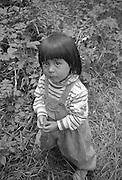 Black and white location portrait of Sarita in Ecuador.