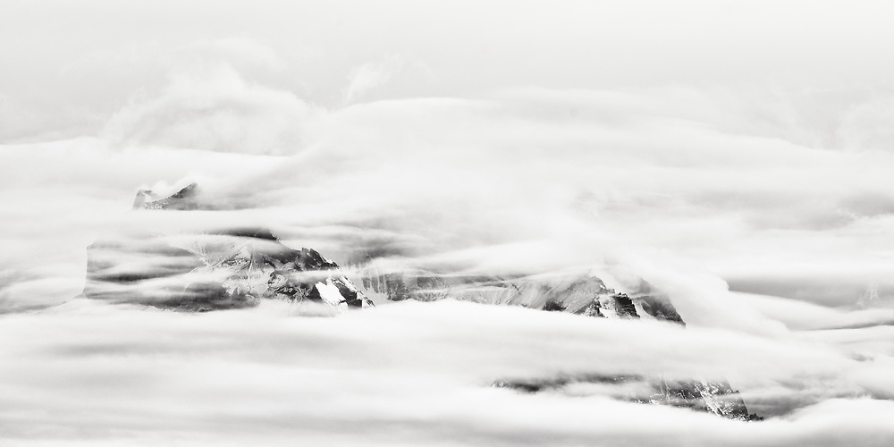 Shrouded peaks, Torres del Paine National Park, Patagonia, Chile.
