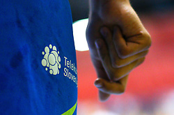 Logo Telekom Slovenije on pants during handball match between National Teams of Slovenia and Latvia in Qualification of 2016 Men's European Championship, on June 13th, in Rdeca Dvorana, Velenje. Photo by Morgan Kristan / Sportida