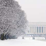 The Lincoln Memorial Reflecting Pool blanketed in fresh white snow after a recent snow storm dumped more than a foot of snow on the area.