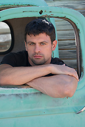 hot man in a pick up truck