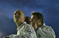 Photo. Jed Wee, Digitalsport.<br /> Leeds United v Leicester City, FA Barclaycard Premiership, Elland Road, Leeds. 05/04/2004.<br /> Leeds' Seth Johnson celebrates Michael Duberry's opening goal.