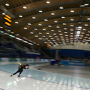 Winter Olympics, Vancouver, 2010.A Chinese athlete training at the Speed Skating venue at Richmond Oval in preparation for the Long Track Speed Skating event at the Winter Olympics. 8th February 2010. Photo Tim Clayton