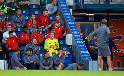 BLACKBURN, ENGLAND - Thursday, July 19, 2018: Liverpool's goalkeeper Loris Karius on the bench having played the first part of the game during a preseason friendly match between Blackburn Rovers FC and Liverpool FC at Ewood Park. (Pic by David Rawcliffe/Propaganda)