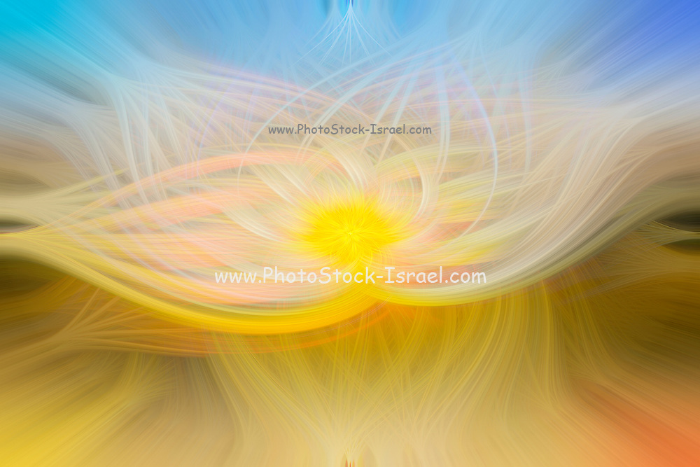 abstract of light and motion in yellow and blue