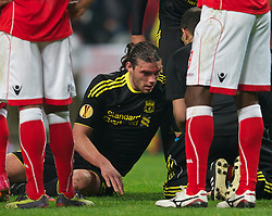 BRAGA, PORTUGAL, Thursday, March 10, 2011: Liverpool's Andy Carroll has blood running down his face after being elbowed by a Sporting Clube de Braga player during the UEFA Europa League Round of 16 1st leg match at the Estadio Municipal de Braga. (Photo by David Rawcliffe/Propaganda)