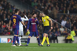 March 14, 2018 - Barcelona, Spain - LIONEL MESSI of FC Barcelona argues with Referee DAMIR SKOMINA during the UEFA Champions League, round of 16, 2nd leg football match between FC Barcelona and Chelsea FC on March 14, 2018 at Camp Nou stadium in Barcelona, Spain (Credit Image: © Manuel Blondeau via ZUMA Wire)