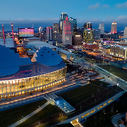 Downtown Kansas City skyline and Kauffman Center for the Performing Arts; aerial/UAV photo