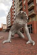 "Michael Christian's monumental metal sculpture ""Kolios"" in Toronto's Distillery District."