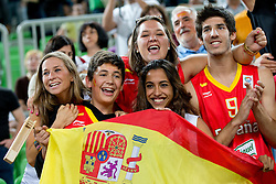 Spanish fans celebrates victory and bronze medal during basketball match between National teams of Serbia and Spain in for third place match of U20 Men European Championship Slovenia 2012, on July 22, 2012 in SRC Stozice, Ljubljana, Slovenia. Spain defeated Serbia 67:66. (Photo by Matic Klansek Velej / Sportida.com)
