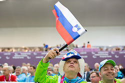 Franc Pinter and Francek Gorazd Tirsek when Damjan Pavlin of Slovenia competes in the Men's R5-10m Air Rifle Prone shooting Final during Day 4 of the Summer Paralympic Games London 2012 on September 1, 2012, in Royal Artillery Barracks, London, Great Britain. (Photo by Vid Ponikvar / Sportida.com)