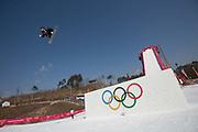 Carlos Garcia Knight, New Zealand, during the mens snowboard big air practice at the Pyeongchang 2018 Winter Olympics on 22nd February 2018, at the Alpensia Ski Jumping Centre in Pyeongchang-gun, South Korea
