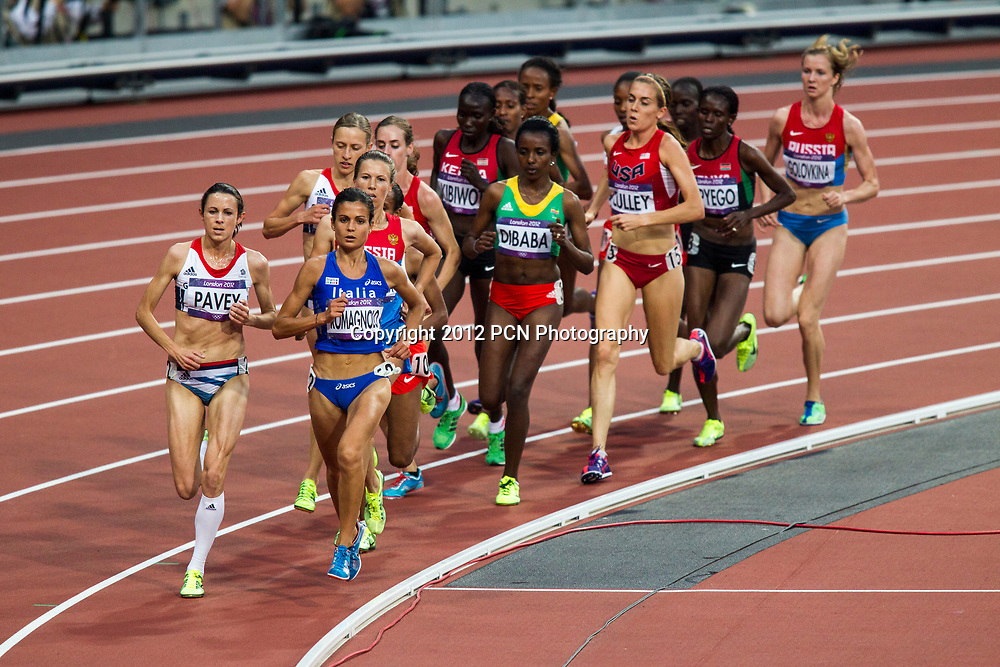 Joanne Pavey (GBR) leads the pack in the Women's 5000m final at the Olympic Summer Games, London 2012