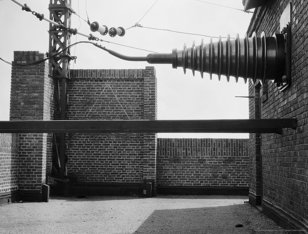 High Voltage Transmission Line attached to a Wall at the radio Station, Nauen, Brandenburg, 1928