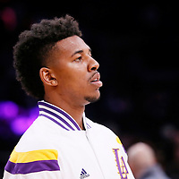 23 November 2014: Los Angeles Lakers forward Nick Young (0) warms up prior to the Los Angeles Lakers season game versus the Denver Nuggets, at the Staples Center, Los Angeles, California, USA.