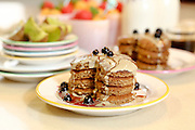 Whole wheat pancakes with fruit. This image has a restriction for licensing in Israel