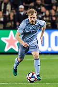 Sporting KC defender Seth Sinovic (15) during a MLS soccer match against the LAFC in Los Angeles, Sunday, March 3, 2019. LAFC defeated Sporting KC, 2-1. (Ed Ruvalcaba/Image of Sport)