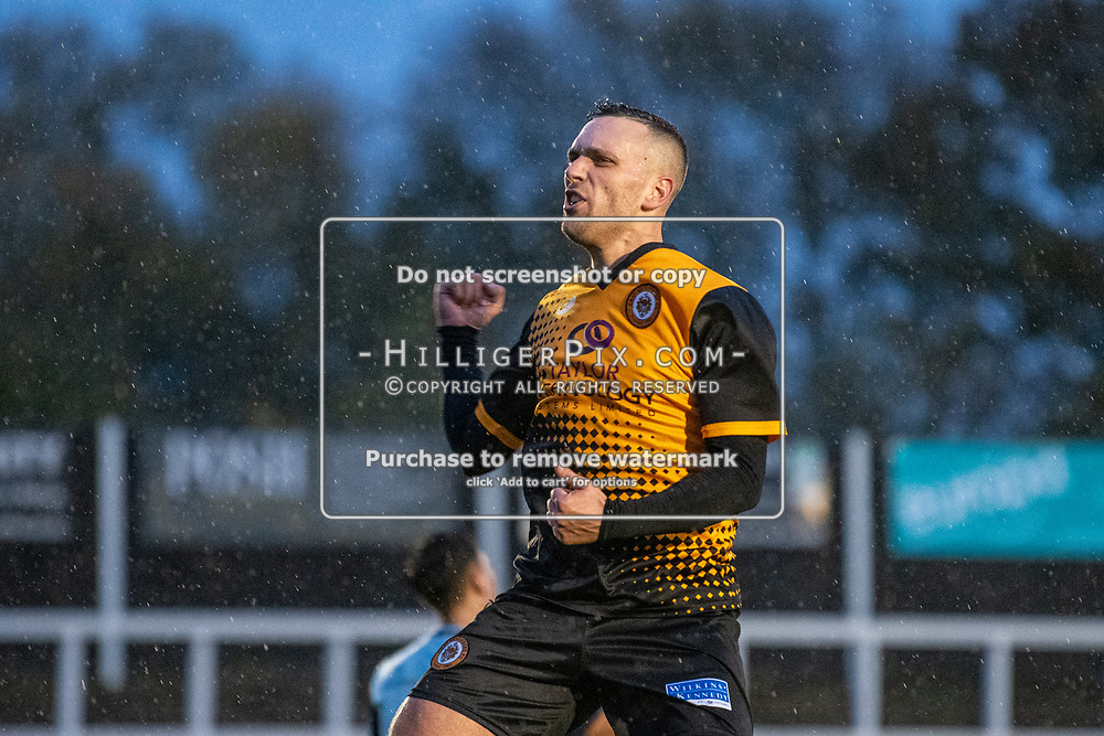 BROMLEY, UK - NOVEMBER 09: Joseph Taylor, of Cray Wanderers FC, celebrates scoring his first goal during the BetVictor Isthmian Premier League match between Cray Wanderers and Cheshunt at Hayes Lane on November 9, 2019 in Bromley, UK. <br /> (Photo: Jon Hilliger)