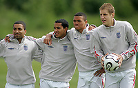 Photo: Paul Thomas.<br /> England Training Session. 01/06/2006.<br /> <br /> Aaron Lennon, Theo Walcott, Jermaine Jenas and Michael Dawson.