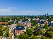 Aerial photograph of Drake University, a liberal arts university in Des Moines, Iowa, USA.