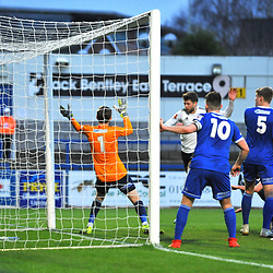 TELFORD COPYRIGHT MIKE SHERIDAN GOAL. Jason Oswell of Telford scores to make it  1-1 during the Vanarama Conference North fixture between AFC Telford United and Curzon Asthon at the New Bucks Head Stadium on Saturday, January 16, 2020.<br /> <br /> Picture credit: Mike Sheridan/Ultrapress<br /> <br /> MS2021-056