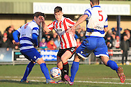 Jon Arzamendi, Bobbie Dale and David King during the FA Trophy match between Oxford City and Cheltenham Town at Court Place Farm, Oxford, United Kingdom on 16 January 2016. Photo by Antony Thompson.
