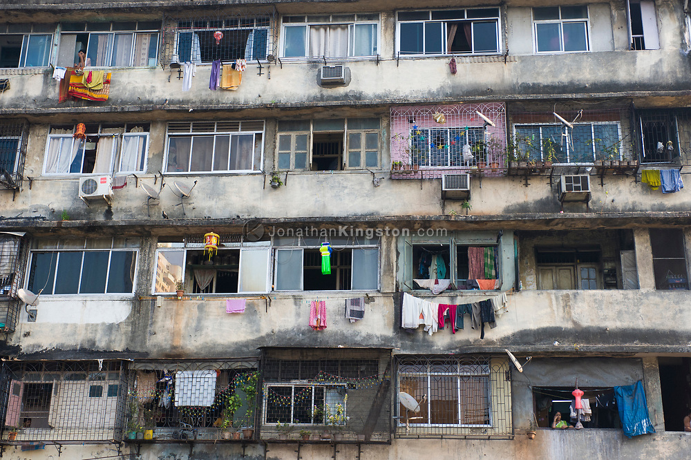 Low angle view of an apartment building in Mumbai, India.