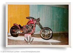 Arlen Ness' original Harley-Davidson Knucklehead custom in its second rebuild painted metal flake magenta. Sacramento Roadster Show, CA. ©1965 Ness Family Archive Photo