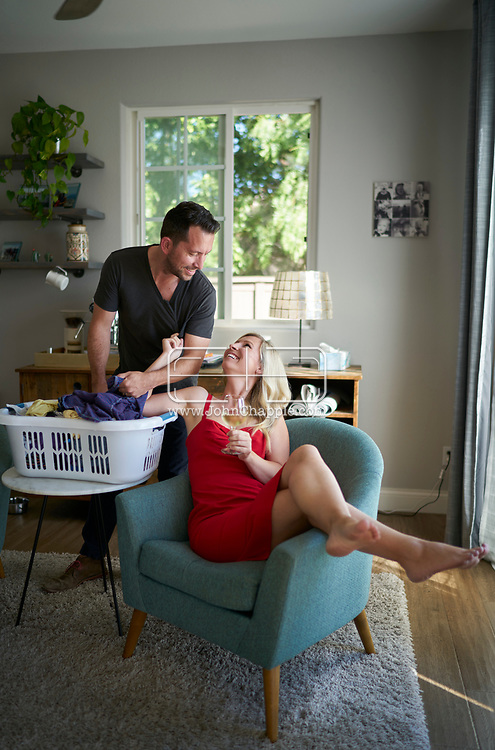 August 23, 2019. San Marcos, California. Kimberley and Anthony Hume who practice  'Chore-Play'. Like foreplay, couples are bribing their spouses with sexual favors to do chores around the house. <br /> Photo copyright John Chapple / www.JohnChapple.com