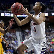Moriah Jefferson, (right), UConn, drives to the basket during the UConn Huskies Vs East Carolina Pirates Quarter Final match at the  2016 American Athletic Conference Championships. Mohegan Sun Arena, Uncasville, Connecticut, USA. 5th March 2016. Photo Tim Clayton