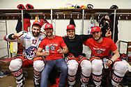 Antonio Rizzello, Jared Aulin, Dion Knelsen und Jeremy Morin (SCRJ) freuen sich nach dem Sieg im siebten Ligaquali Spiel der National League zwischen den SC Rapperswil-Jona Lakers und dem EHC Kloten, am Mittwoch, 25. April 2018, in der Swiss Arena Kloten. (Thomas Oswald)