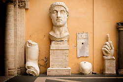 Remains of colossal statue of  Roman Emperor Constantine in the courtyard of the Capitoline Museum, Rome