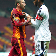 Galatasaray's Burak Yilmaz (L) Kasimpasaspor's Ryan Donk (R) during their Turkish Super League soccer match Galatasaray between Kasimpasaspor at the TT Arena at Seyrantepe in Istanbul Turkey on Friday, 31 October 2014. Photo by Kurtulus YILMAZ/TURKPIX