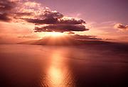 Sunset behind the Island of Lanai, Hawaii<br />