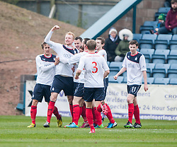 Falkirk's Mark Beck celebrates after scoring their goal.<br /> Dundee 0 v 1 Falkirk, Scottish Championship game played today at Dundee's Dens Park.<br /> © Michael Schofield.