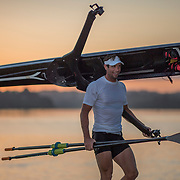 Robbie Manson returns from his pre-race row at dawn<br /> <br /> Racing at the NICC regatta on Lake Karapiro, Monday 29 January 2018. Copyright photo © Steve McArthur / www.photosport.nz
