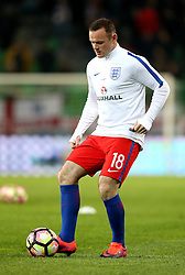 Wayne Rooney of England warms up ahead of the match with Slovenia in which he had been dropped to the bench - Mandatory by-line: Robbie Stephenson/JMP - 11/10/2016 - FOOTBALL - RSC Stozice - Ljubljana, England - Slovenia v England - World Cup European Qualifier