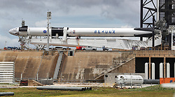 The Space X Demo-2 Falcon 9 rocket, with the Crew Dragon capsule (far left), lies horizontal at Launch Pad 39-A at Kennedy Space Center, FL, USA, Tuesday, May 26, 2020. SpaceX Demo-2 is scheduled to launch Wedbesday at 4:33pm. (Joe Burbank/Orlando Sentinel/TNS)