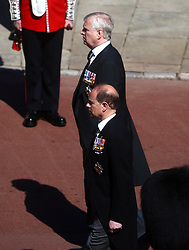 The Earl of Wessex (bottom) and The Duke of York (top) outside St George's Chapel, Windsor Castle, Berkshire, before the funeral of the Duke of Edinburgh. Picture date: Saturday April 17, 2021.