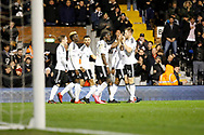 Fulham players celebrate a goal from Fulham midfielder Floyd Ayite (11) (score 1-0) during the EFL Sky Bet Championship match between Fulham and Barnsley at Craven Cottage, London, England on 23 December 2017. Photo by Andy Walter.