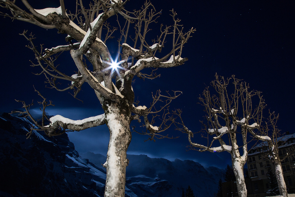 Stormy full moon night at Mürren, Switzerland